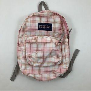 Jansport Bookbag Backpack Pink Plaid